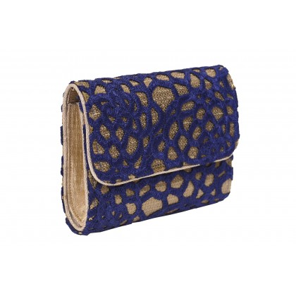 Blue handcrafted clutch