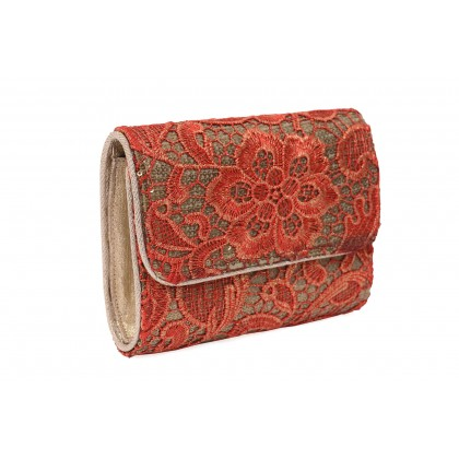 Red handcrafted clutch