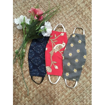 Bird & Floral Embroidered Cotton Reusable Face Mask- Set of 3