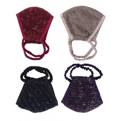 Sequins Embroidered Face Mask - Set Of 4