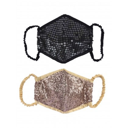 Sequins Embroidered Face Mask - Set Of 2
