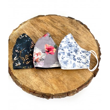 Printed Floral Conical Reusable Mask - Set of 3