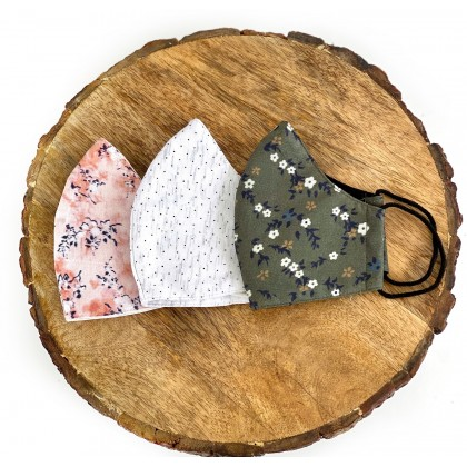 Printed Floral Conical Reusable Mask - Set of 3 (With 50 Filters)