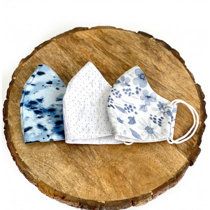 Printed Floral Conical Reusable Mask - Set of 3 ( With 50 Filters)