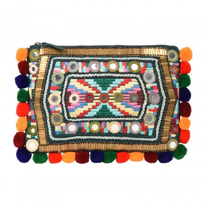 ZIPPER POUCH WITH MULTY COLORED EMBROIDERY AND POM POM