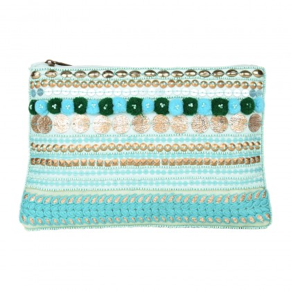zipper pouch with pompom & sequin